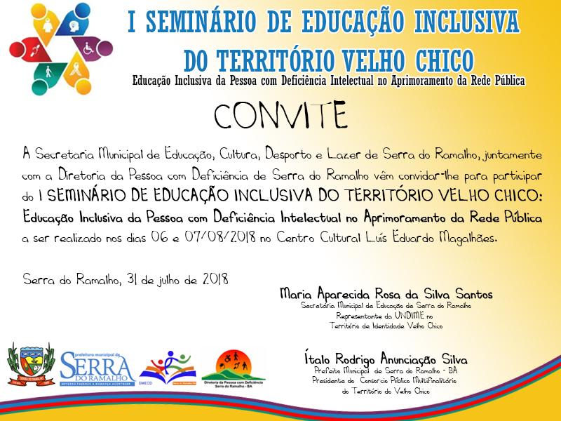I SEMINÁRIO DE EDUCAÇÃO INCLUSIVA DO TERRITÓRIO VELHO CHICO