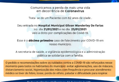 Décima Primeira morte por COVID-19 em Serra do Ramalho, Bahia